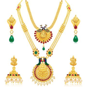 SUKKHI | Sukkhi Ethnic Pearl Gold Plated Peacock Meenakari Long Haram Necklace Set Combo For Women
