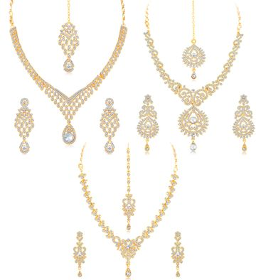 SUKKHI | Sukkhi Stylish Gold Plated Austrian Diamond Choker Necklace Set Combo For Women