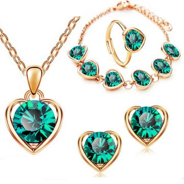 SUKKHI | Sukkhi Dazzling Green Heart Gold Plated Combo for Women