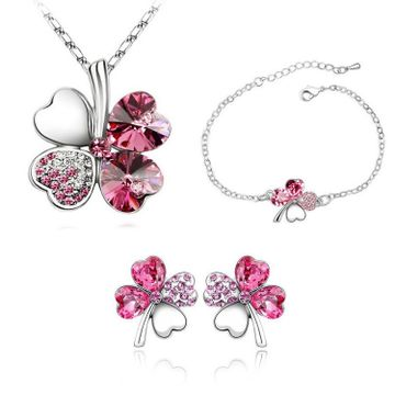 SUKKHI | Sukkhi Exclusive  Floral Crystal Pink Rhodium Plated Combo for Women