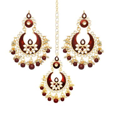 SUKKHI | Sukkhi Lovely Pearl Gold Plated Kundan Meenakari Chandbali Earring Maangtikka Set for Women