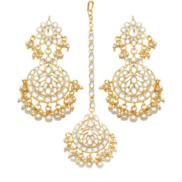 SUKKHI | Sukkhi Attractive Pearl Gold Plated Kundan Chandelier Earring Maangtikka Set for Women