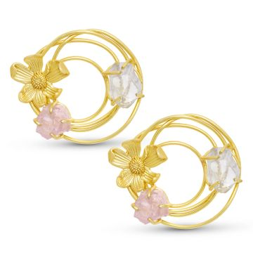 SUKKHI | Sukkhi Glitzy Gold Plated Floral Stud Earring For Women