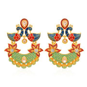 SUKKHI | Sukkhi Sensational Mena Kari Peacock Gold Plated Earring for Women