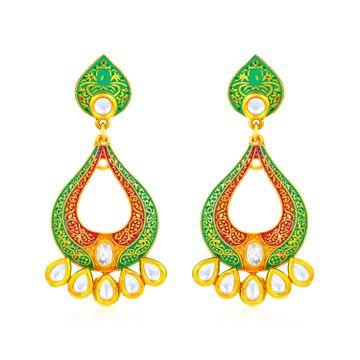 SUKKHI | Sukkhi Gorgeous Kundan Mint Meena Collection Gold Plated Earring for Women