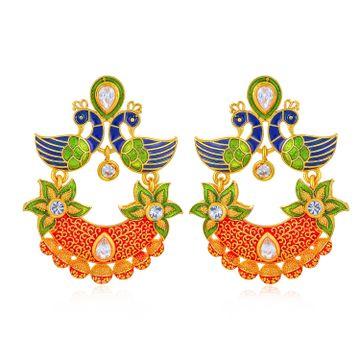 SUKKHI | Sukkhi Charming Peacock Gold Plated Earring for Women
