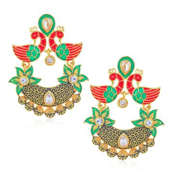 SUKKHI | Sukkhi Cluster Kundan Peacock Gold Plated Mint Meena Collection Earring for Women