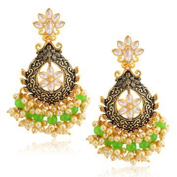 SUKKHI | Sukkhi Fancy LCT Gold Plated Floral Pearl Meenakari Chandelier Earring For Women