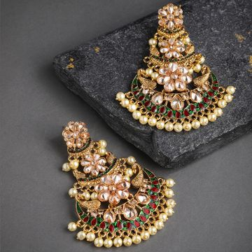 SUKKHI | Sukkhi Meenakari Gold Plated Chand Bali Earring for Women