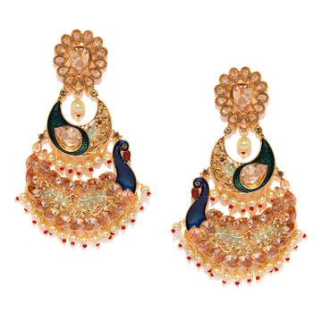 SUKKHI | Sukkhi Elegant Meenakari Peacock Gold Plated Earring for Women
