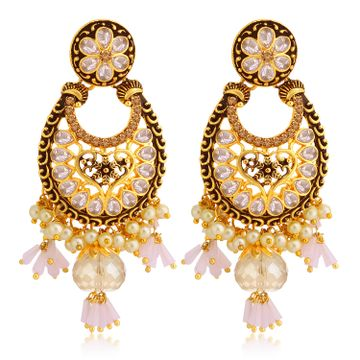 SUKKHI | Sukkhi Marvellous LCT Gold Plated Floral Pearl Chandelier Earring For Women