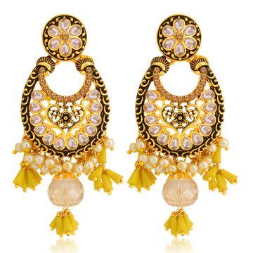 SUKKHI | Sukkhi Splendid LCT Gold Plated Floral Pearl Chandelier Earring For Women