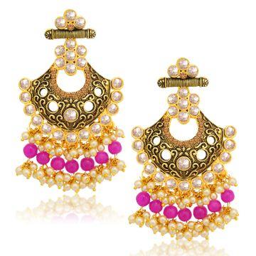 SUKKHI   Sukkhi Glittery LCT Gold Plated Pearl Chandelier Earring For Women