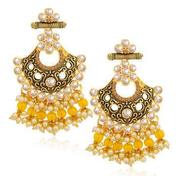 SUKKHI | Sukkhi Glamorous LCT Gold Plated Pearl Chandelier Earring For Women