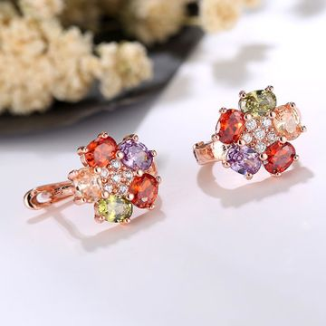 SUKKHI | Sukkhi Astonish Floral Crystal Stone Multi Colour Gold Plated Earring for Women