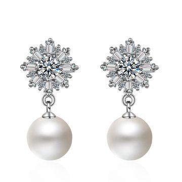 SUKKHI | Sukkhi Adorable Cubic Zirconia Rhodium Plated Pearl Drop Earrings for Women