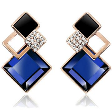 SUKKHI | Sukkhi Glimmery Crystals from Swarovski Drop Down Gold Plated Stud Earring for Women and Girls