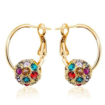 SUKKHI | Sukkhi Glittery Crystals from Swarovski Hoops Gold Plated Earring for Women and Girls