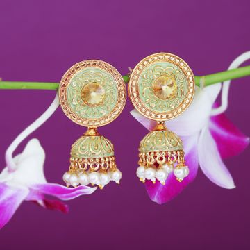 SUKKHI | Sukkhi Glorious Rose Gold Plated Mint Collection Jhumki Earring For Women