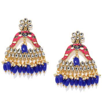 SUKKHI | Sukkhi Lavish Kundan Gold Plated Meenakari Chandelier Earring for Women