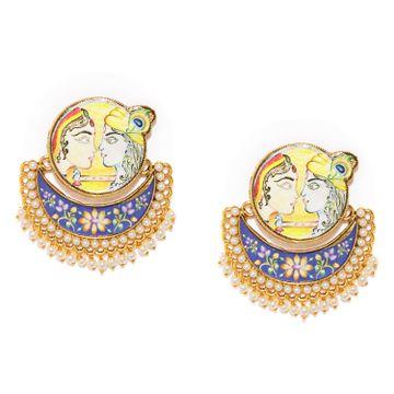 SUKKHI | Sukkhi Sober Gold Plated RadhaKrishna Meenakari Pearl Chandbali Earring for Women