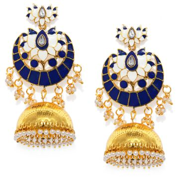 SUKKHI | Sukkhi Glitzy Gold Plated Lotus Meenakari Pearl Jhumki Earring for Women