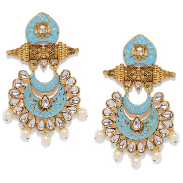 SUKKHI | Sukkhi Attractive Pearl Gold Plated Kundan Meenakari Chandelier Earring for Women