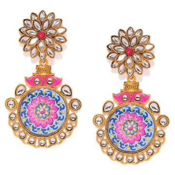 SUKKHI | Sukkhi Elegant Gold Plated Kundan Floral Chandelier Earring for Women