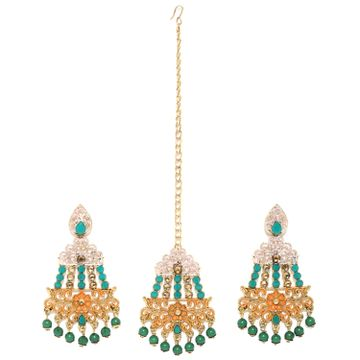 SUKKHI | Sukkhi Cluster Gold Plated Mint Collection Earring and Maangtikka Set for Women