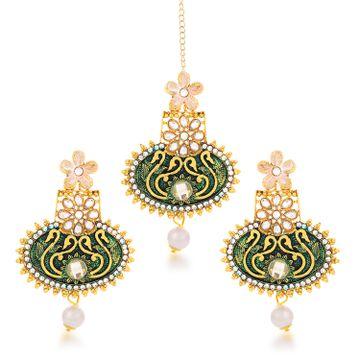 SUKKHI | Sukkhi Glitzy Gold Plated Floral Dangle Earring & Maangtikka for Women