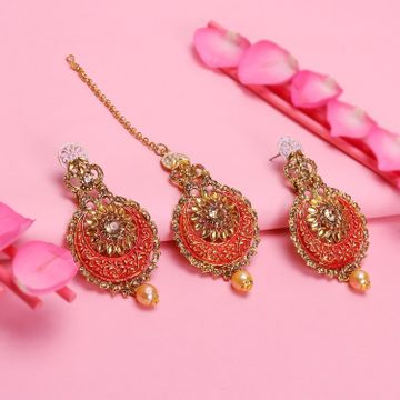 SUKKHI | Sukkhi Dazzling LCT Gold Plated Mint Collection Chandbali Earring Maangtikka Set For Women