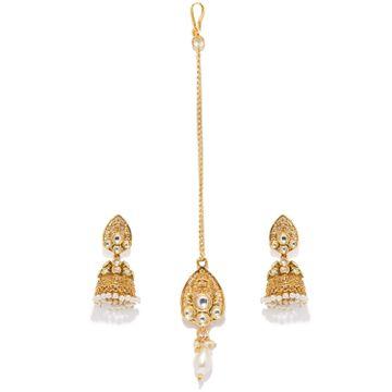 SUKKHI | Sukkhi Fine Gold Plated Jhumki Earring and Maangtikka Set for Women