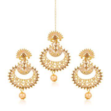 SUKKHI | Sukkhi Antique Gold Plated Mint Meena Collection Chand Bali Earring & Maangtikka for Women
