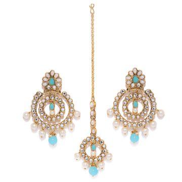 SUKKHI | Sukkhi Charming Pearl Gold Plated Kundan Chandbali Earring Maangtikka Set for Women