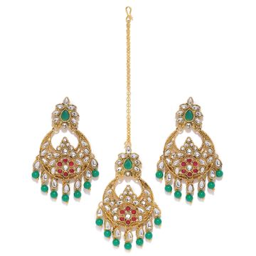 SUKKHI | Sukkhi Glistening Gold Plated Kundan Chandbali Earring Maangtikka Set for Women