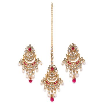 SUKKHI | Sukkhi Exclusive Pearl Gold Plated Kundan Chandelier Earring Maangtikka Set for Women