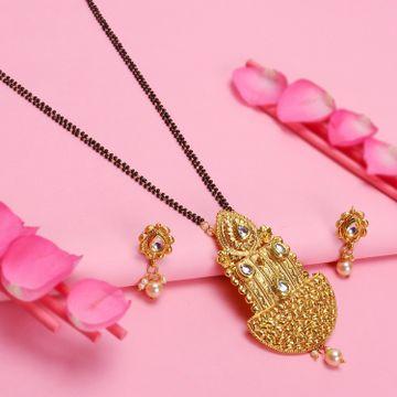 SUKKHI   Sukkhi Astonish Kundan Gold Plated Mangalsutra Set For Women