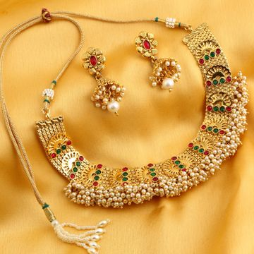 SUKKHI | Sukkhi Graceful Reversible Gold Plated Necklace Set For Women