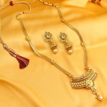 SUKKHI   Sukkhi Stunning LCT Gold Plated Long Haram Necklace Set For Women