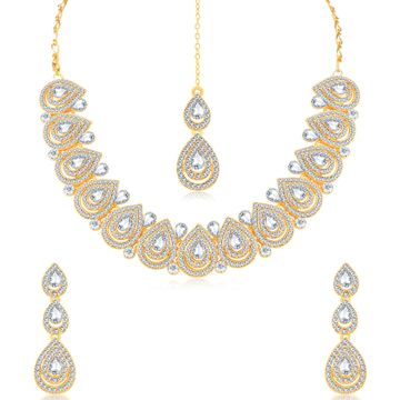SUKKHI   Sukkhi Delightly Gold Plated Necklace Set For Women
