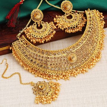 SUKKHI | Sukkhi Traditional Pearl Gold Plated LCT Stone Choker Necklace Set For Women