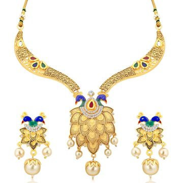 SUKKHI   Sukkhi Incredible God Plated Peacock Necklace Set For Women