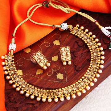 SUKKHI | Sukkhi Stylish LCT Gold Plated Pearl Choker Necklace Set For Women