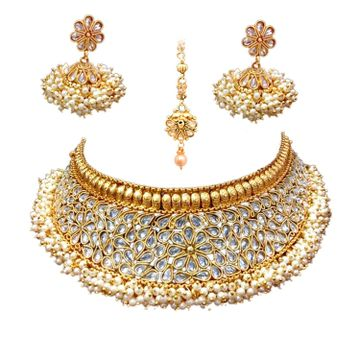 SUKKHI | Sukkhi Glorious Kundan Gold Plated Pearl Choker Necklace Set For Women