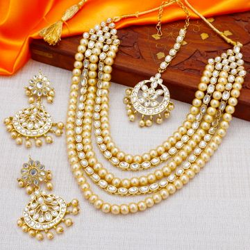 SUKKHI   Sukkhi Traditional Pearl Gold Plated Kundan Long Haram Necklace Set for Women