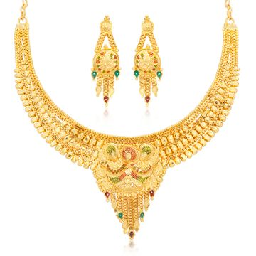 SUKKHI | Sukkhi Dazzling 24 Carat Gold Plated Choker Necklace Set for Women