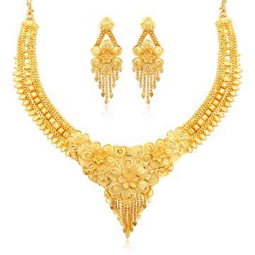 SUKKHI | Sukkhi Fascinating 24 Carat Gold Plated Choker Necklace Set for Women