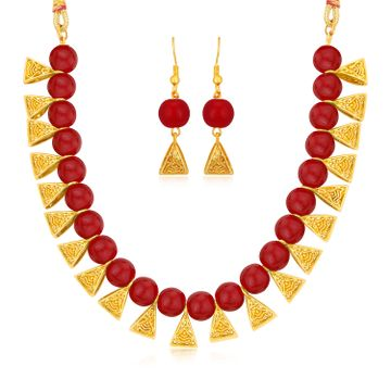 SUKKHI | Sukkhi Exquisite Gold plated Red Necklace Set for Women