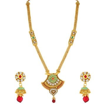 SUKKHI | Sukkhi Adorable Gold Plated Green Mint Meena Collection Kundan Long Haram Necklace Set For Women