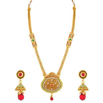 SUKKHI   Sukkhi Gorgeous Gold Plated Green Mint Meena Collection Pearl Long Haram Necklace Set For Women